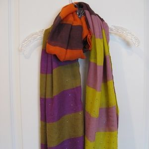 LOFT Striped Orange, Purple, and Green Scarf